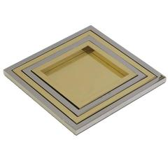 Willy Rizzo Nesting Trays Steel and Brass Signed, Italy, 2000s