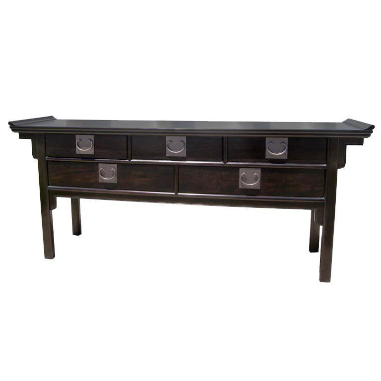 Asian Influenced Five Drawer Console Table By Century Furniture Of  Disctinction 1