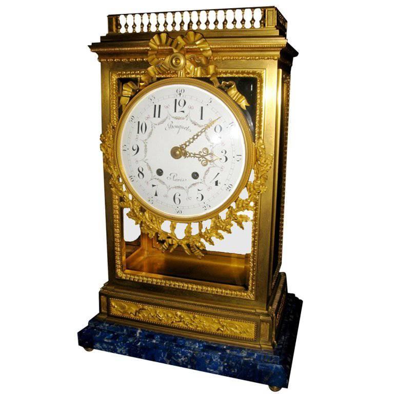 Antique French Louis XVI Doré Bronze Clock with Lapis Lazuli Base