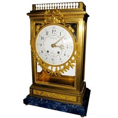 Antique French Louis XVI Doré Bronze Clock with Lapis Lazuli Base