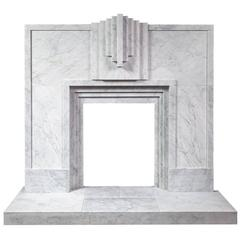 Art Deco Style Carrara Marble Fireplace