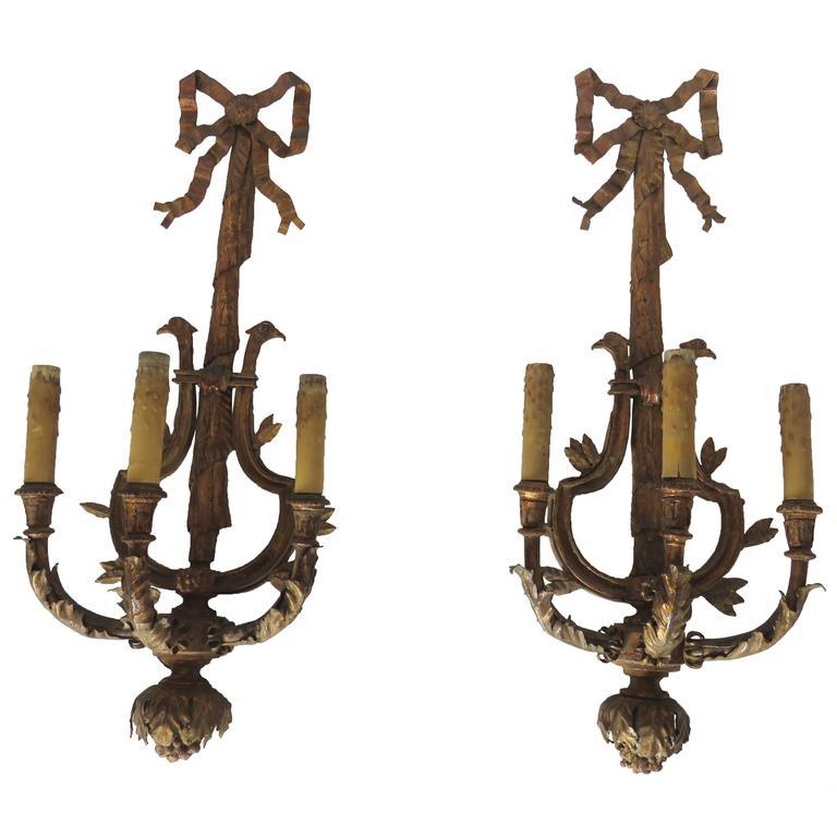 Paar große vergoldete Eisen drei leichte Wandleuchter Applique 1
