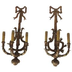 Pair of Large Gilt Iron Three Light Wall Applique Sconces