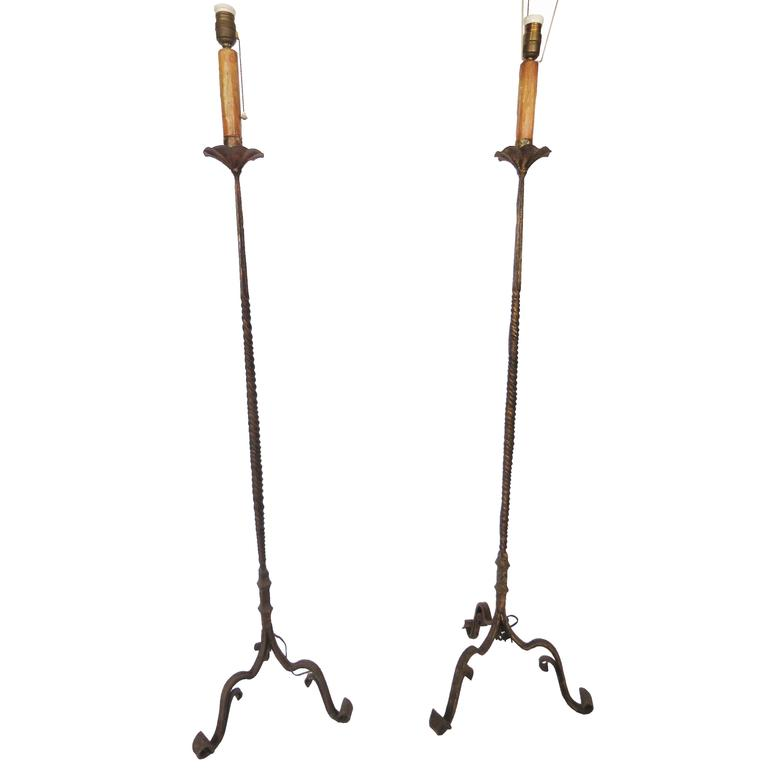 Early 20th Century Pair of Hand Brought Iron Gilt Floor Lamps