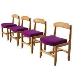 Four Guillerme et Chambron Dining Chairs in Solid Oak