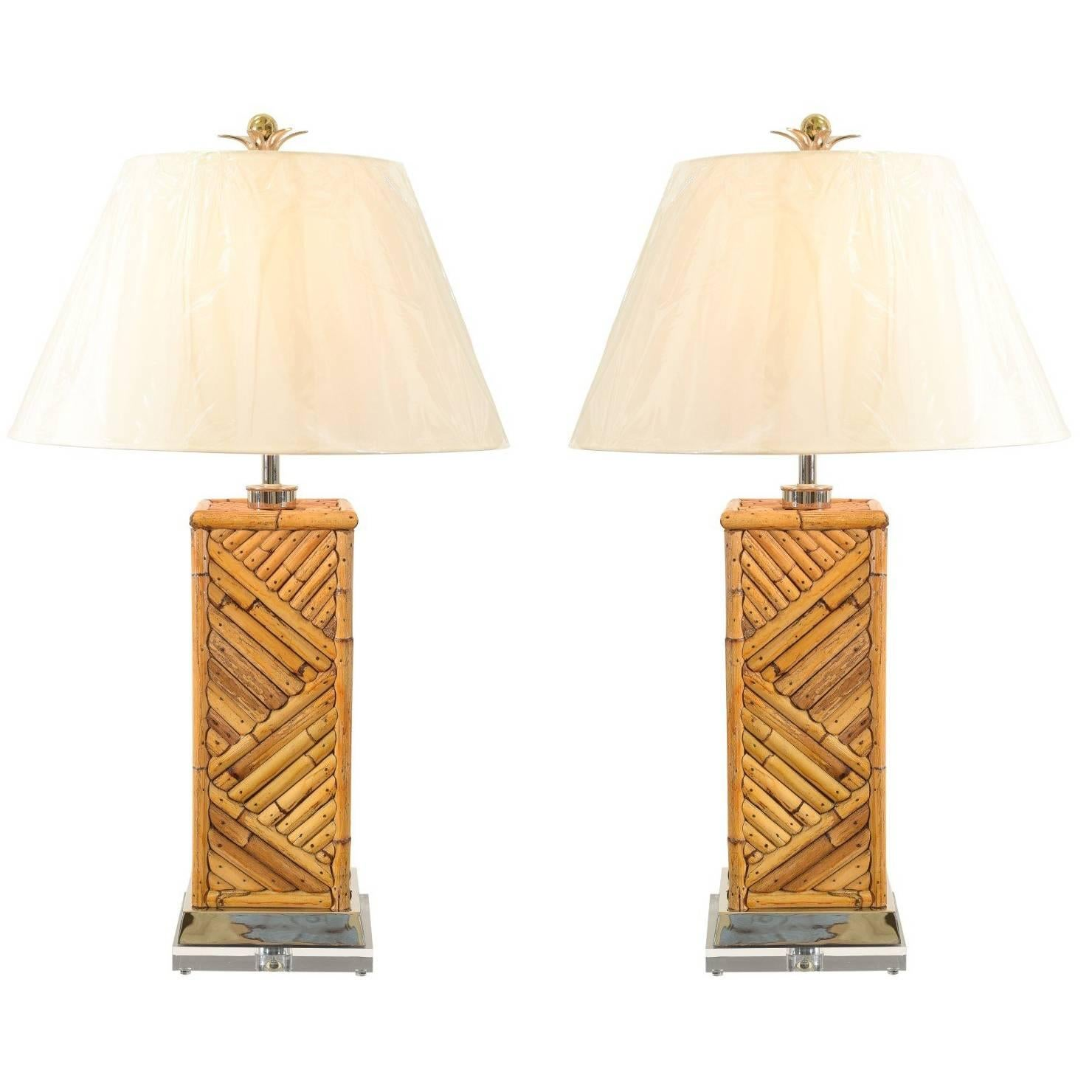 Dramatic Pair of Handmade Vintage Bamboo Lamps with Nickel and Lucite Accents