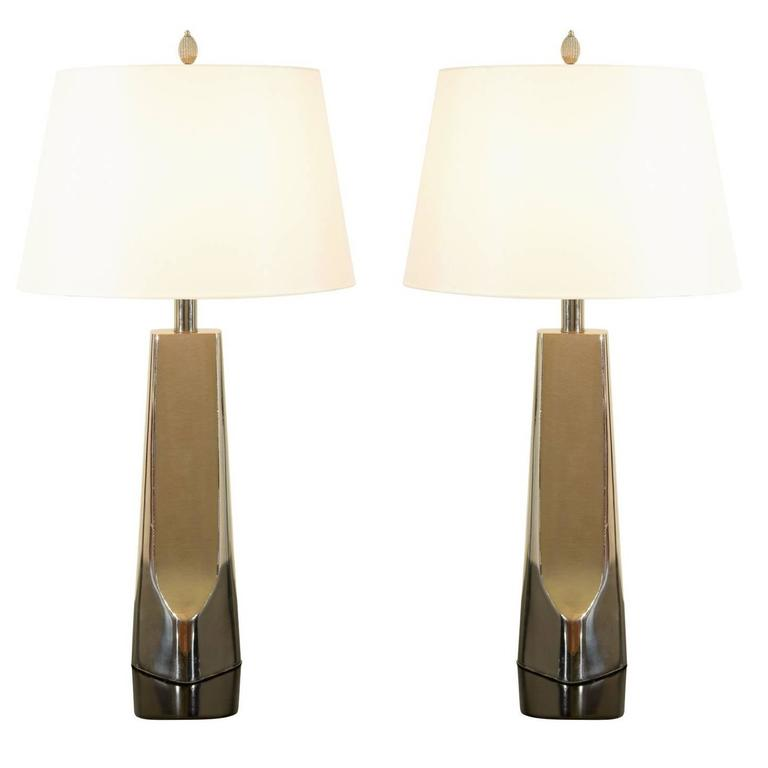 Sculptural Restored Pair of Cast Metal Lamps by Laurel in Nickel