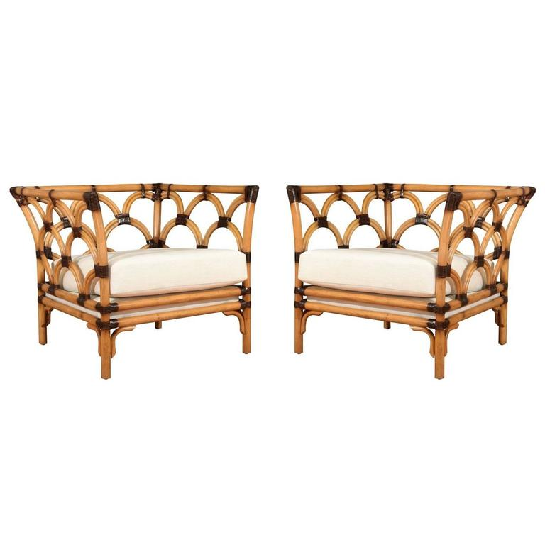 Amazing Pair Of Scalloped Rattan Club Chairs By Peter Rocchia For Wicker  Works For Sale