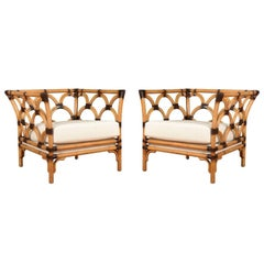 Amazing Pair of Scalloped Rattan Club Chairs by Peter Rocchia for Wicker Works
