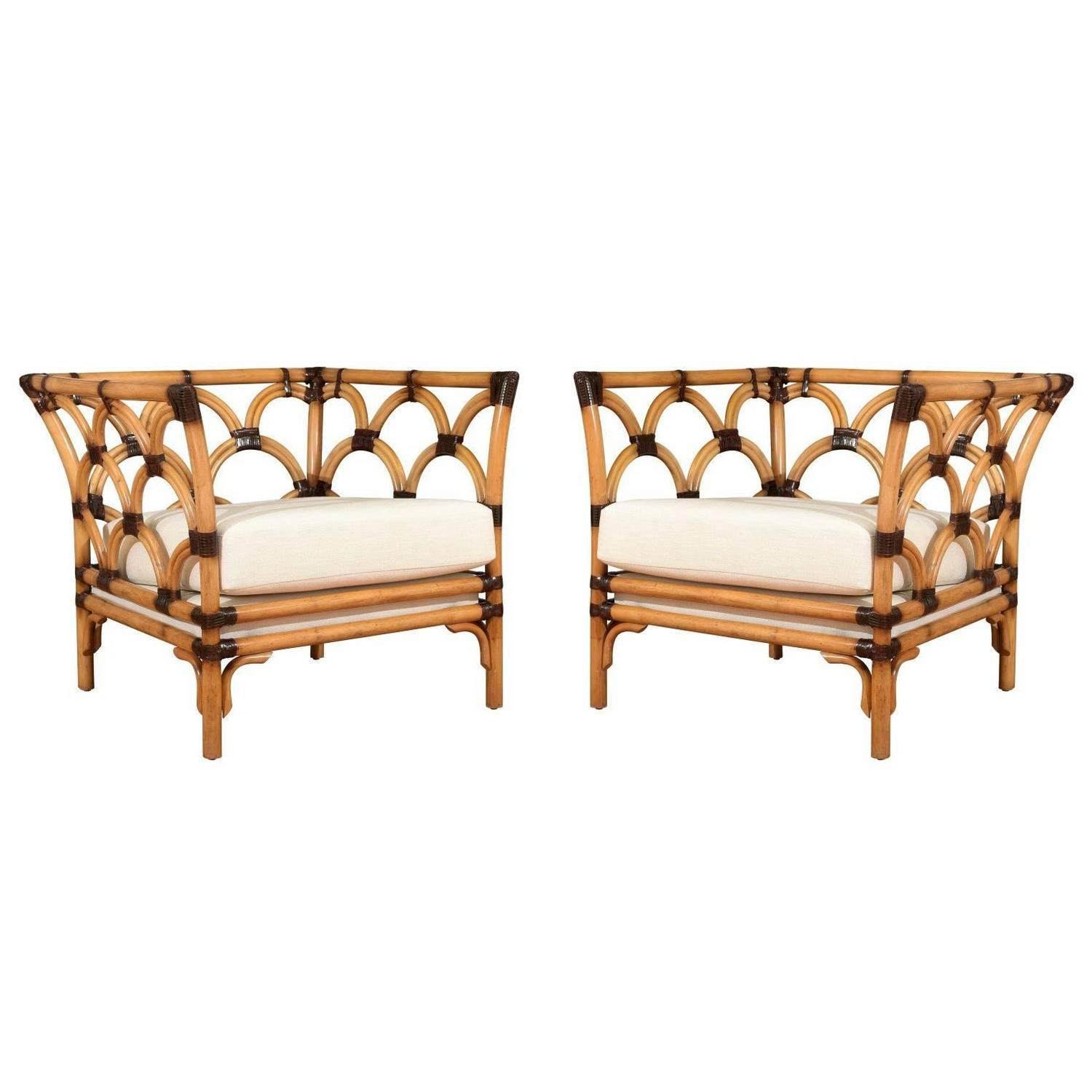Amazing Pair of Scalloped Rattan Club Chairs by Peter Rocchia for ...