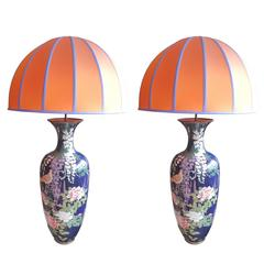 Two Japanese Vases Enamel Cloissoné Converted into Lamps with Tangerine Lampshad