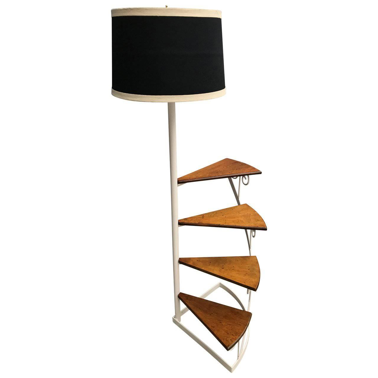 American Spiral Library Steps And Floor Lamp