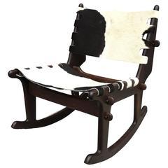 Mid-Century Edward Pazmino Rocking Chair in Cow Hide