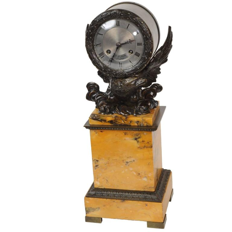 Early Bronze and Sienna Marble Eagle Drumhead Clock by Henry and J.J. Lepaute