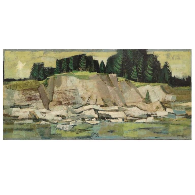 Kenneth J. Lipstreu, Cubist Landscape, Oil on Canvas, Signed