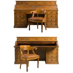 Two Large System Oak Desks and Their Armchairs, 19th Century