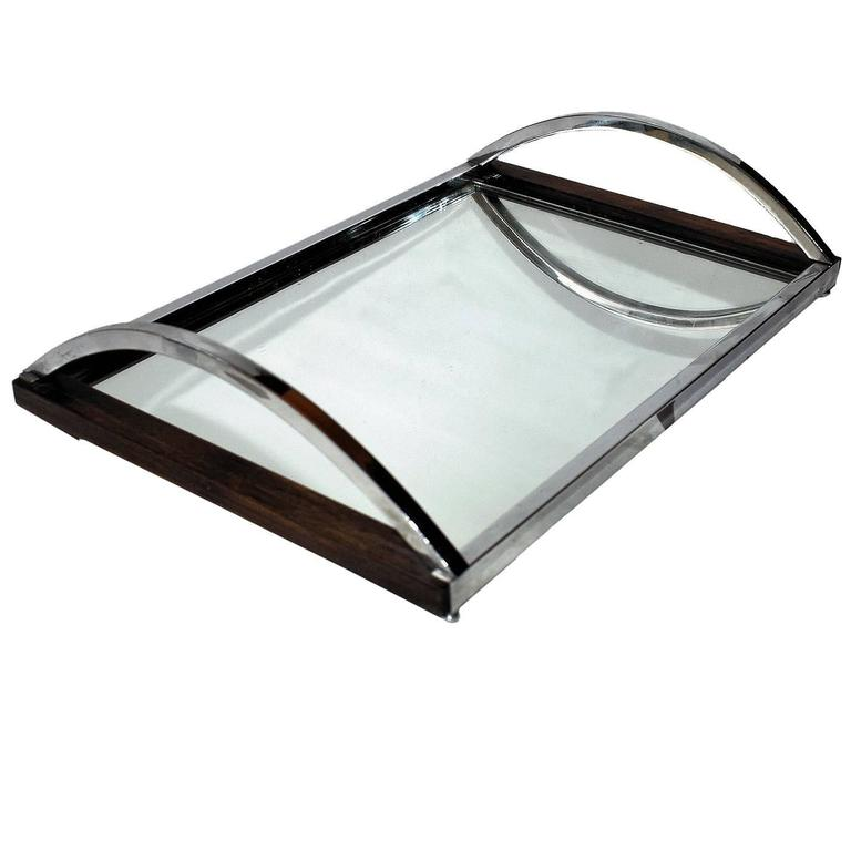 Art Deco Modernist Chrome and Mirror Tray For Sale