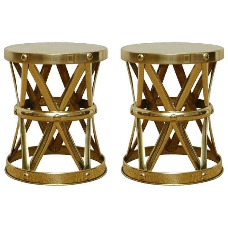 Mid-Century Italian Brass X Drum Stools or Side Tables 1
