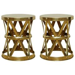 Mid-Century Italian Brass X Drum Stools or Side Tables