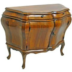 Rococo Style Walnut Bombe Commode with Mahogany Cross-Banding