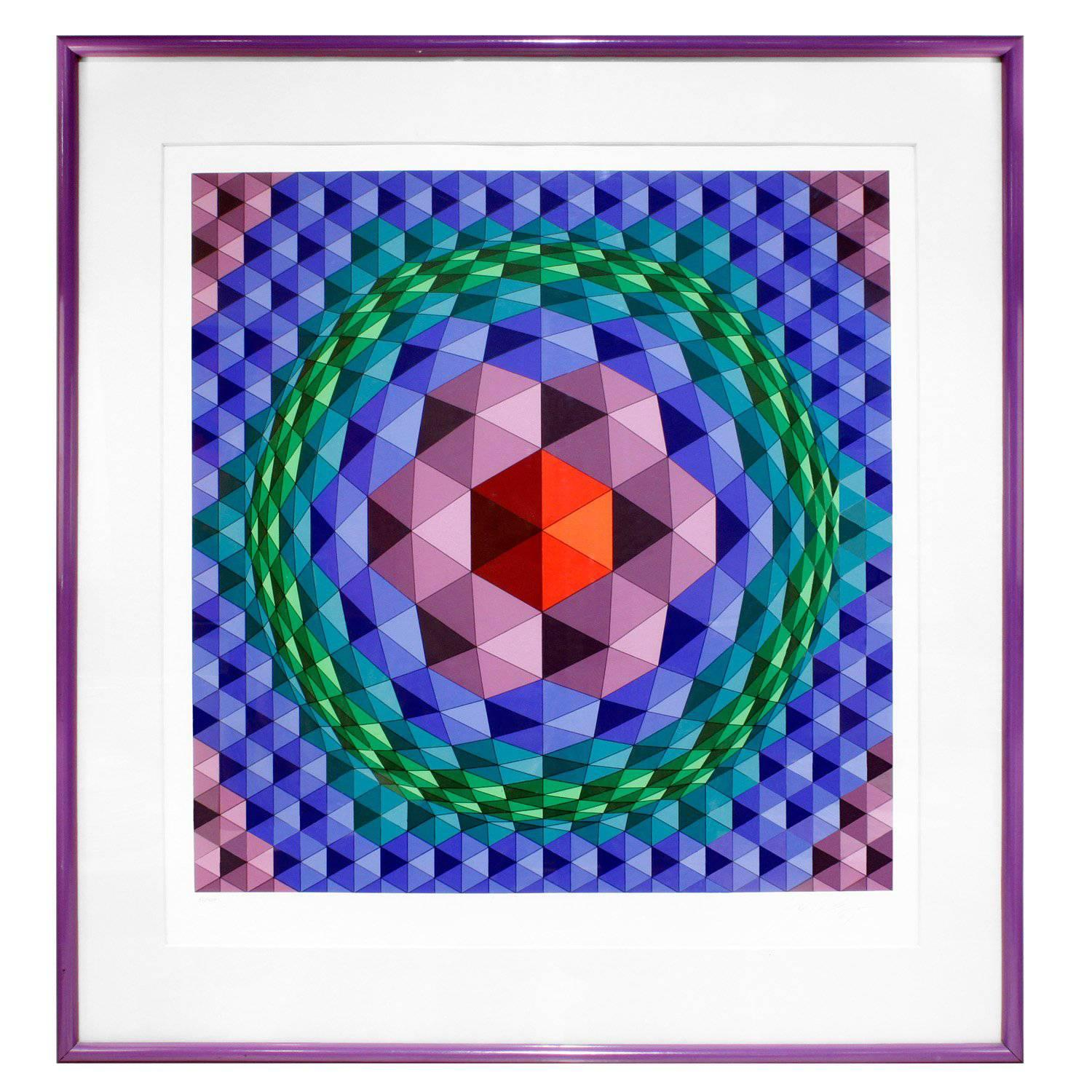 Victor Vasarely Geometric Print with Purple Frame, 1970s