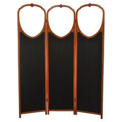 Antique English Satinwood Three-Panel Screen with Beveled Glass