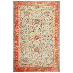 Light Blue Antique Turkish Oushak Rug