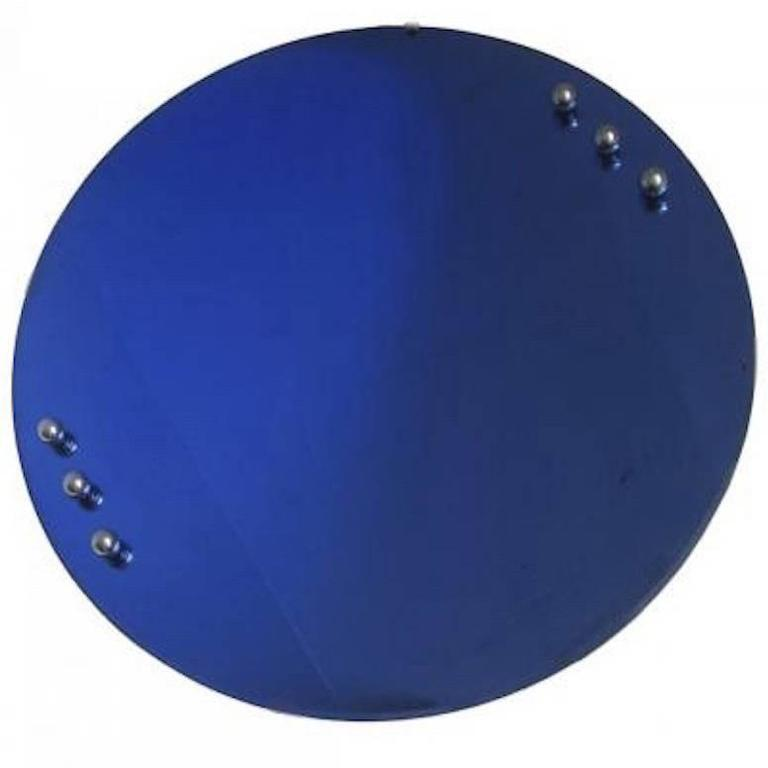 American Art Deco Cobalt Blue Mirror With Six Chrome For