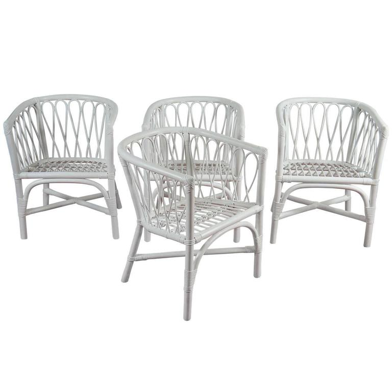 Set of Four Bentwood and Rattan Dining Chairs For Sale