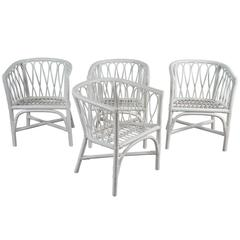 Set of Four Bentwood and Rattan Dining Chairs