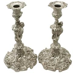 Antique George IV Pair of Sterling Silver Candlesticks