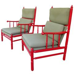 Pair of Red-Lacquered Armchairs