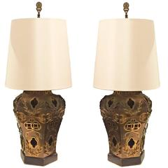 20th Century American Hollywood Regency Pair of Oriental Style Table Lamps