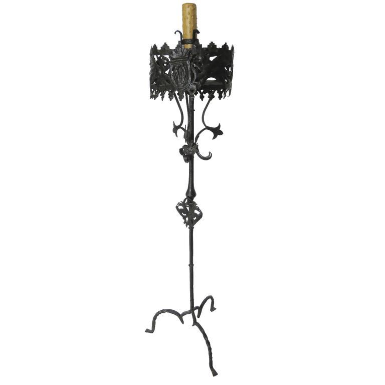 18th Century Hand Brought Iron Torchere Floor Lamp