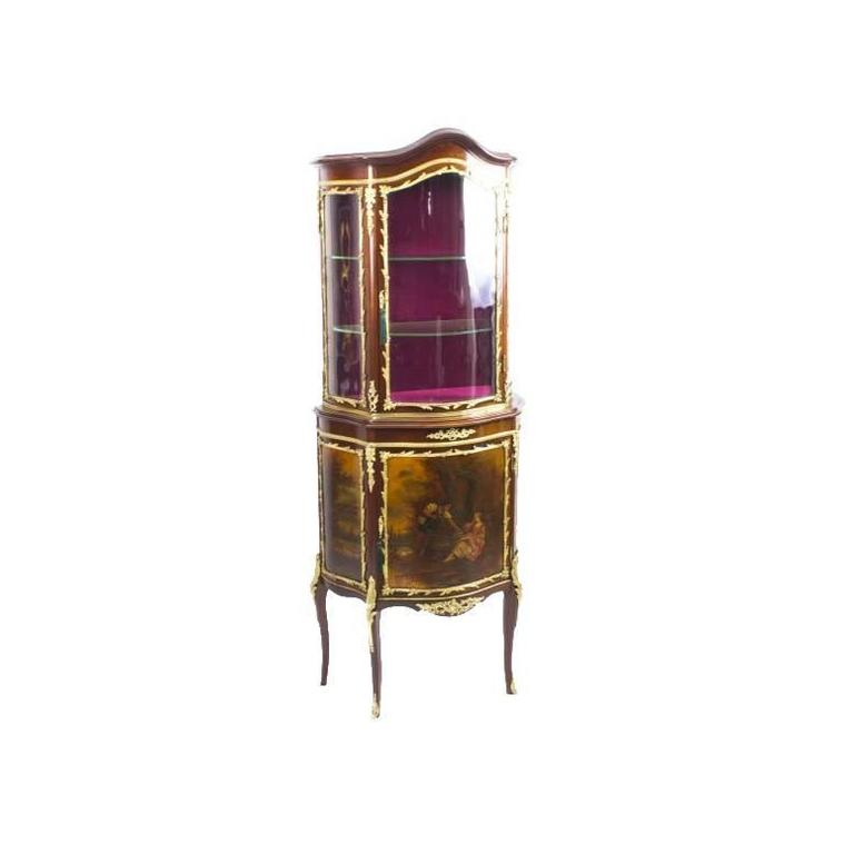 19th Century French Vernis Martin Vitrine Display Cabinet For Sale