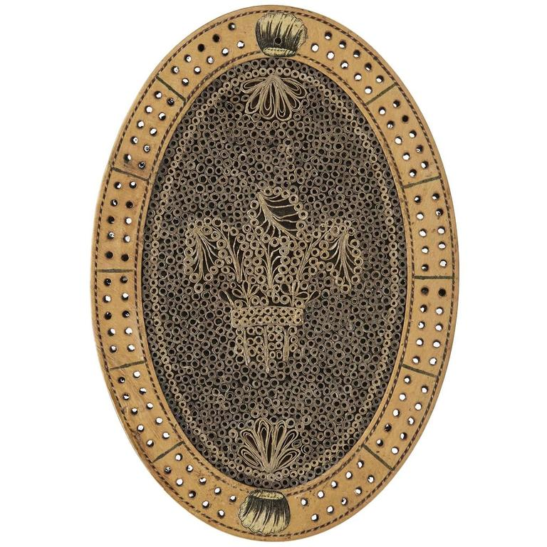 Georgian Oval Quillwork Cribbage Board, circa 1800