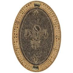 Georgian Oval Quillwork Cribbage Board, circa 1800