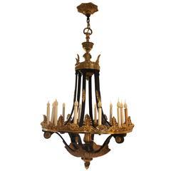 19th Century Bronze Patina and Gilded Twelve-Light Chandelier