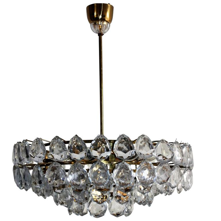 Large Brass and Glass Chandelier  by Bakalowits, Austria, circa 1960s For Sale
