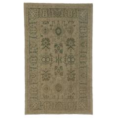 Modern Turkish Oushak Rug with Vintage Vibes and Soft, Neutral Colors