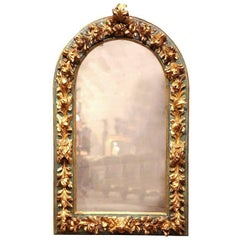 Mid-19th Century Spanish Baroque Carved Polychrome and Gilt Arched Wall Mirror