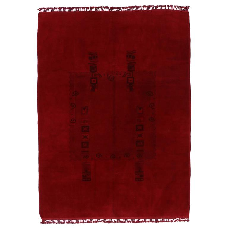 Vintage Turkish Oushak Rug Overdyed in Red with Modern Style