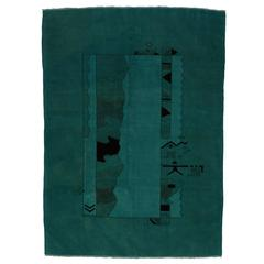 Vintage Turkish Oushak Rug Overdyed in Teal with Contemporary Modern Style