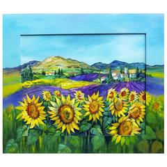 French Provence Painting Sunflowers Lavender with Painted Frame Betty Wittwe