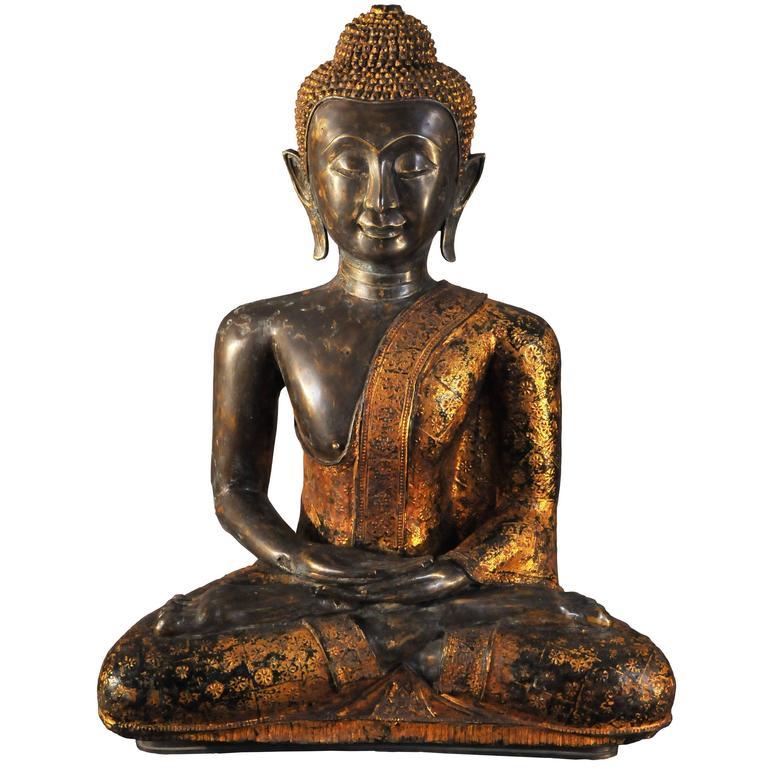 18th Century Thai Gilt Bronze Statue of Vajrasana Buddhain Dhyana Mudra