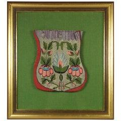 Antique 18th Century Framed Silk Tapestry Drawstring Purse Georgian, circa 1795