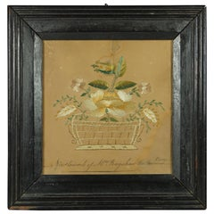 18th Century American Embroidery Picture on Paper Pin Prick Federal, circa 1780