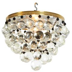Mid-Century Modern Chandelier with Crystal Ball Accents