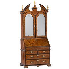 George I Burl Walnut Bureau Bookcase