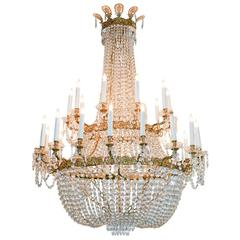 Impressive French Basket Form Chandelier